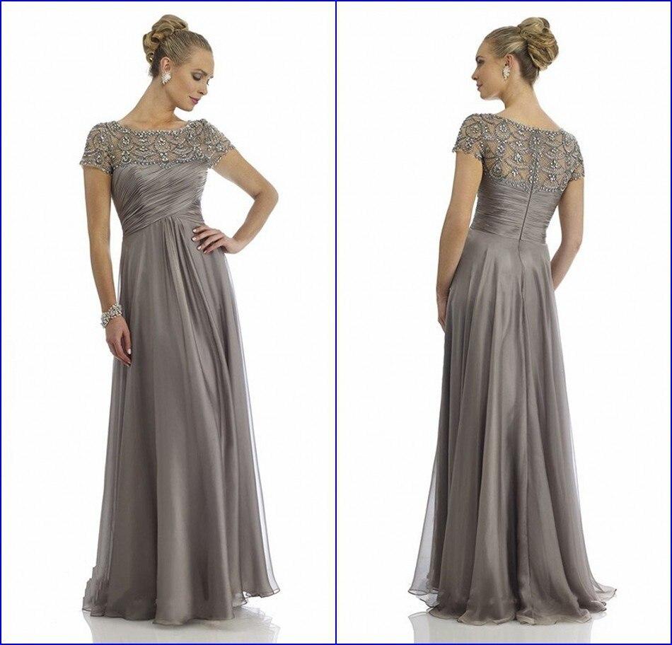 Vestido De Mae Noiva Sheer Scoop Neckline Fully Beaded Cap Sleeve Silver Plus Size Mother Of The Bride Dresses Evening Dress In