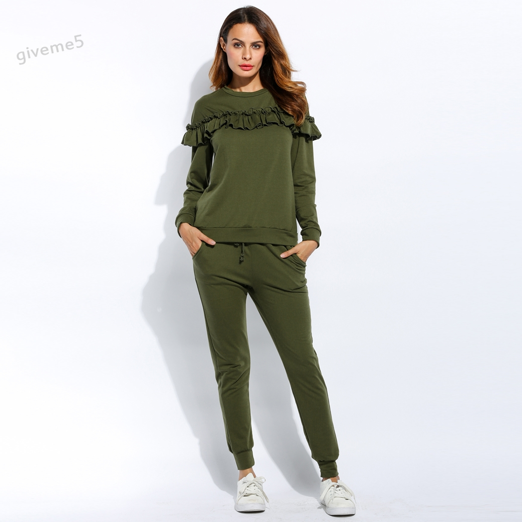 Women Casual Autumn and Winter Clothing Ruffle Sweatshirt +Long Pants Set Loungewear Joggers Hooded Suit