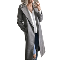 Winter Wool Coat for Women Warm Long Trench Coat Blends Cardigans Coat Open Stitch Manteau Femme