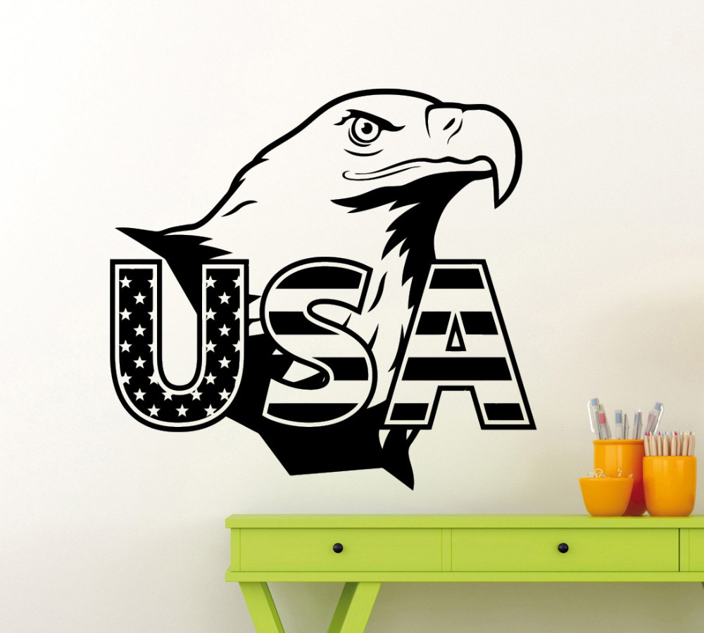 online buy wholesale usa wall stickers from china usa wall  - removable eagle usa flag wall sticker american symbol vinyl decal home roominterior high quality mural