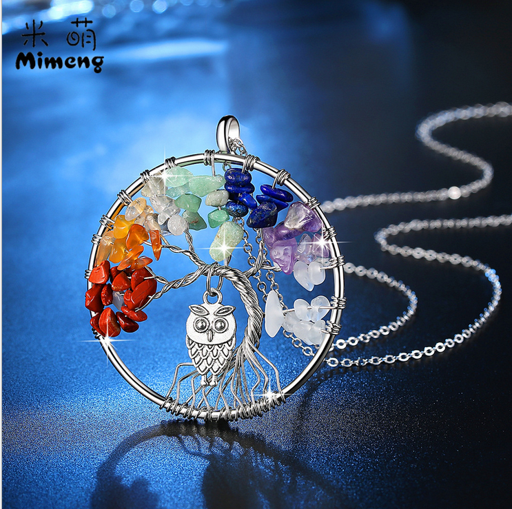 personality fashion Owl Wisdom Pendant Necklace Fashion Jewelry For Women Jewelry Color Rock Crystal Gravel Tree Of Life Inlay 1