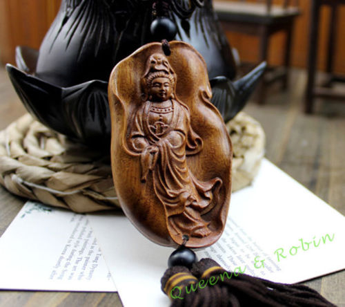 Wood Carving Chinese Knot Quan Guan Kwan Yin Car Pendant Amulet Wooden Craft