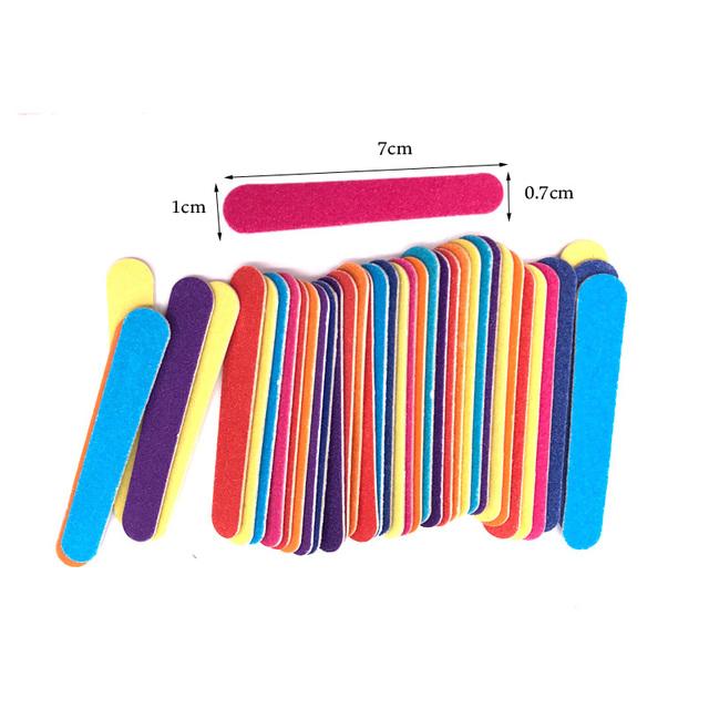 Colorful Mini Sandpaper Nail Files 50 pcs Set