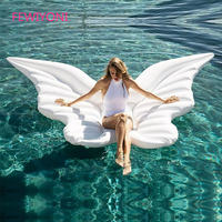 giant angel wings inflatable pool floating air mattress lazy water party toy riding butterfly swimming ring