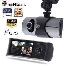 Мини 2.7 дюйма Автомобильный видеорегистратор Камера два объектива видеокамеры 1080 P Full HD видео регистратор парковка рекордер g-сенсор регистраторы 140 градусов