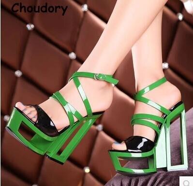 ФОТО Sexy Fretwork Heels Mixed Color Woman Night Club Shoes For Lady Peep Toe 16cm High Heels Woman Platform Sandals Slingback Shoes