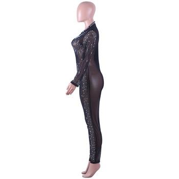 Black Leotard Long Sleeve | Sparkly Rhinestones Long Sleeve Jumpsuit Black Crystals Leotard Jumpsuit Party Celebration Stage Outfit Singer Nightclub Costume