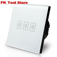 Fashion Smart Touch Switch 3 Gang 1 Way Wall Light Touch Screen Crystal Glass Panel