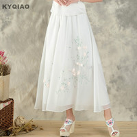 KYQIAO Chinese Clothing Store 2017 Women Summer Sweet Fresh Ethnic Long White Embroidery A Line Midi