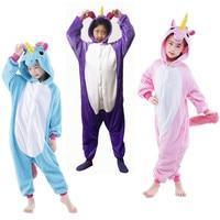 Children Costumes Purple Blue Pink Unicorn Sleepwear Kids Onesie Pajamas Cosplay Costume Clothing For Halloween Carnival
