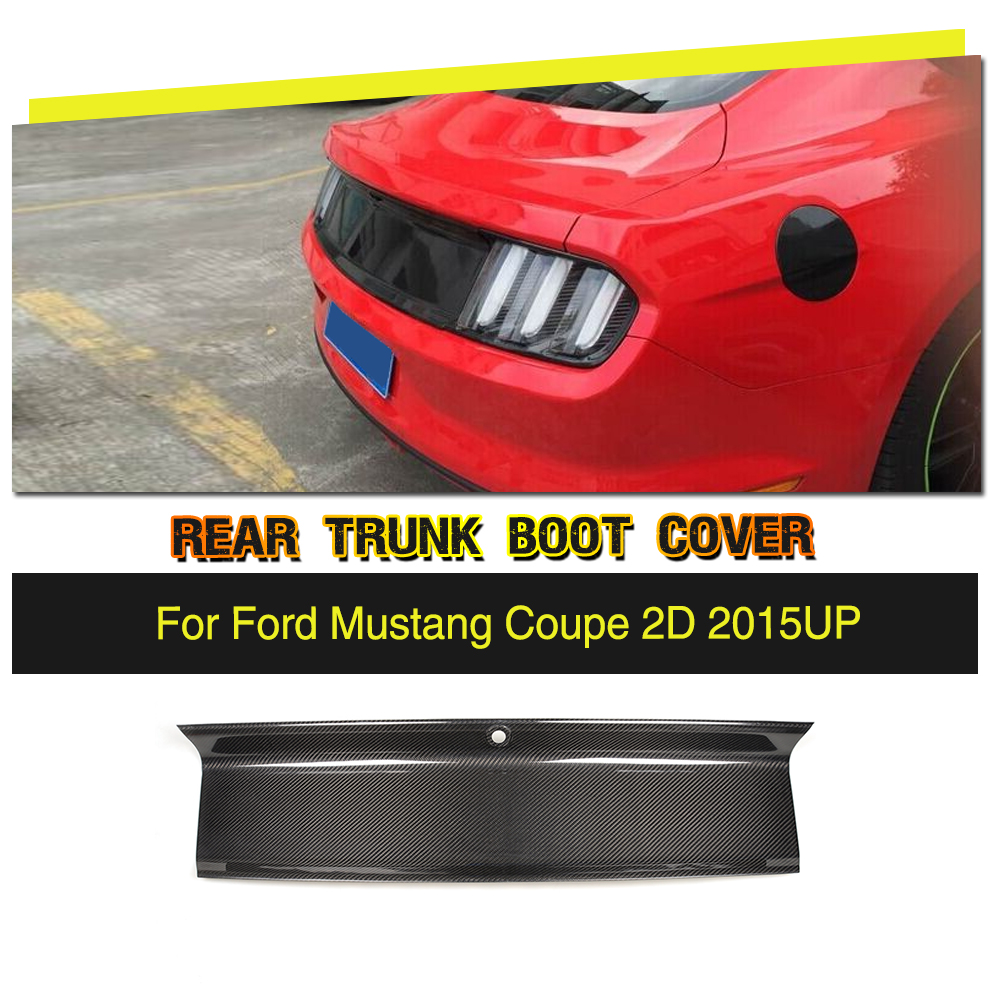 Carbon Fiber Car Rear Trunk Spoiler Cover Trim for Ford Mustang Base Coupe 2015 2016