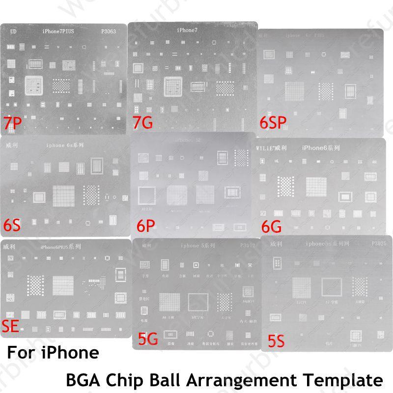 imágenes para 9 unids/set conjunto Completo dedicate BGA Reballing kit para iPhone 5 5S SÍ 6 6 P 6 S 6 S más 7 7 p Chip BGA Bola de Acuerdo plantilla