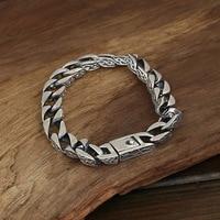 925 Sterling Silver Personalized Bracelet Vintage Punk Heavy Handmade Men Jewelry Armbanden Voor Vrouwen