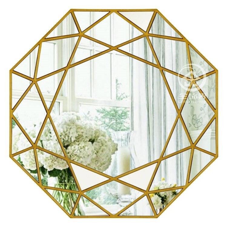 Modern round mirror glass console mirror geometric wall ...