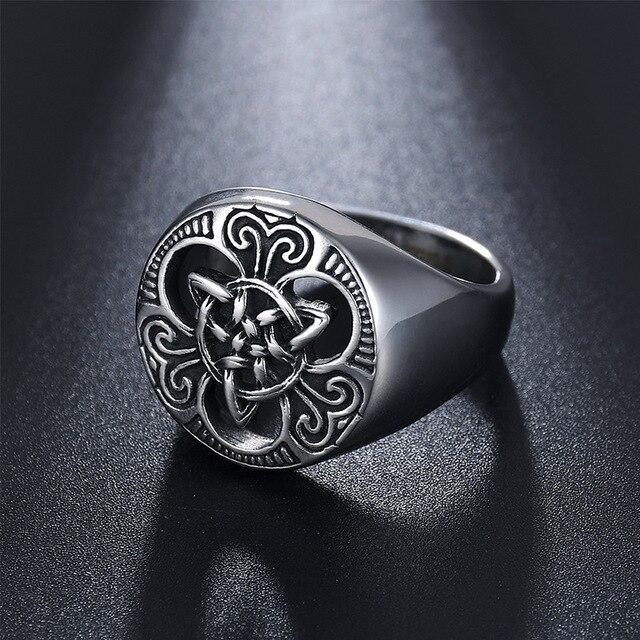 Vintage Punk Style kolor srebrny tytanowa stal nierdzewna irlandzki Celtics węzeł pierścień dla kobiet mężczyzn biżuteria Retro rozmiar 7-13