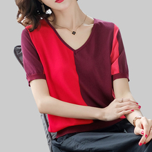 shintimes Contrast Color T Shirt Women V-Neck Tshirt Fashion Knitted Clothes 2019 Summer Tops Casual Short Sleeve T-Shirt Femme