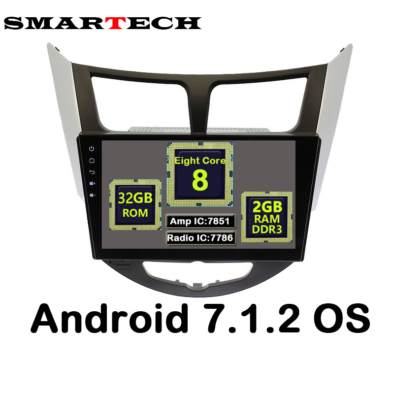 "SMARTECH 9"" OctaCore 2Din Android 7.1.2 Car Intelling GPS Player For Solaris Verna Accent Headunit Radio Video Player Navigation"