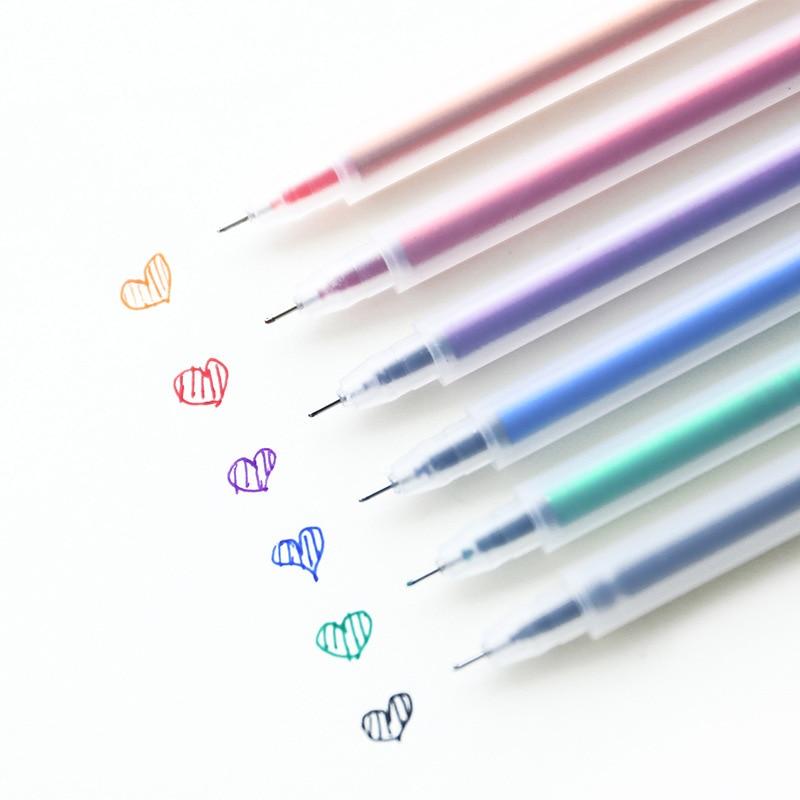 6 Color Gel Pen Simple Transparent Color Pen 0.5mm Mark Drawing Pen Office School Supplies