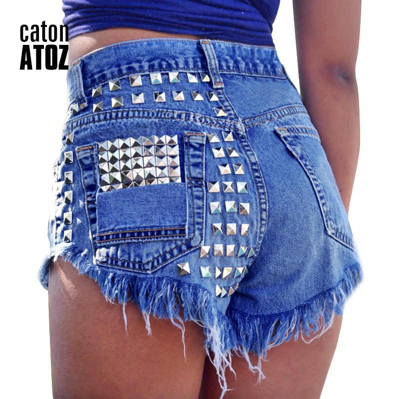 CatonATOZ 1993 moda damska marki w stylu Vintage Tassel nit zgrywanie krótkie dżinsy z wysokim stanem Punk Sexy Hot kobieta spodenki jeansowe