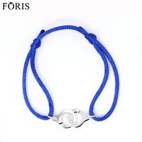 Fashion Jewelry 925 Sterling Silver Couples Handcuff Charm Bracelet For Women Gift 4 Colors Rope