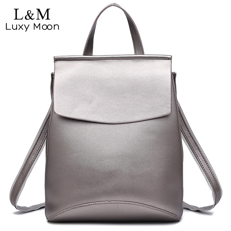 цены на Fashion Black Leather Backpack Women Brand Quality Backpacks Teenage Girls Casual School Bag Rucksack mochila Silver XA216H