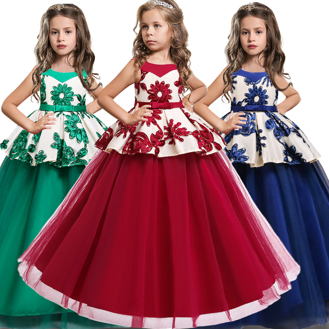 Baby Girls baptism Princess Flower Ball Gown Dress Kids Bridemaid Dresses For Girls Wedding Party Dress first communion dress