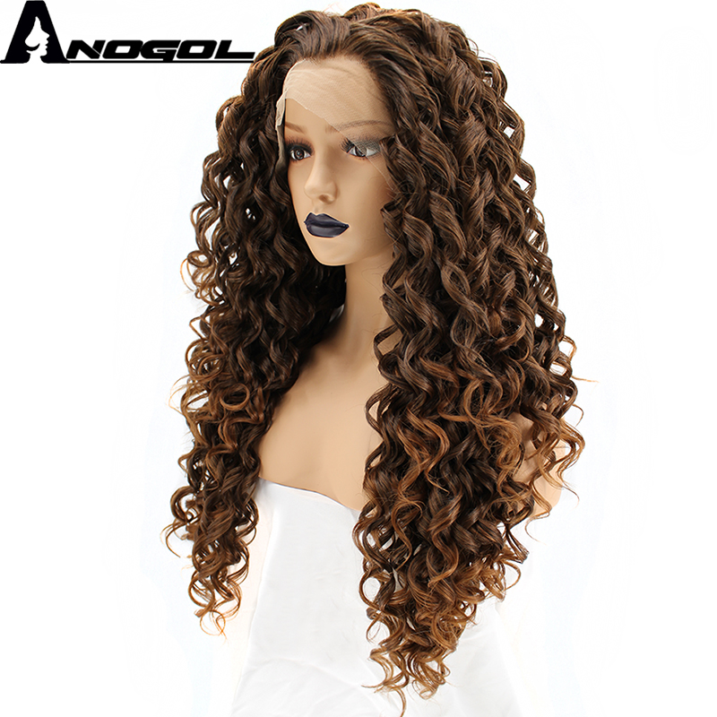 Anogol High Temperature Fiber Free Part Long Kinky Curly Brown Blonde Ombre Synthetic Lace Front Wig