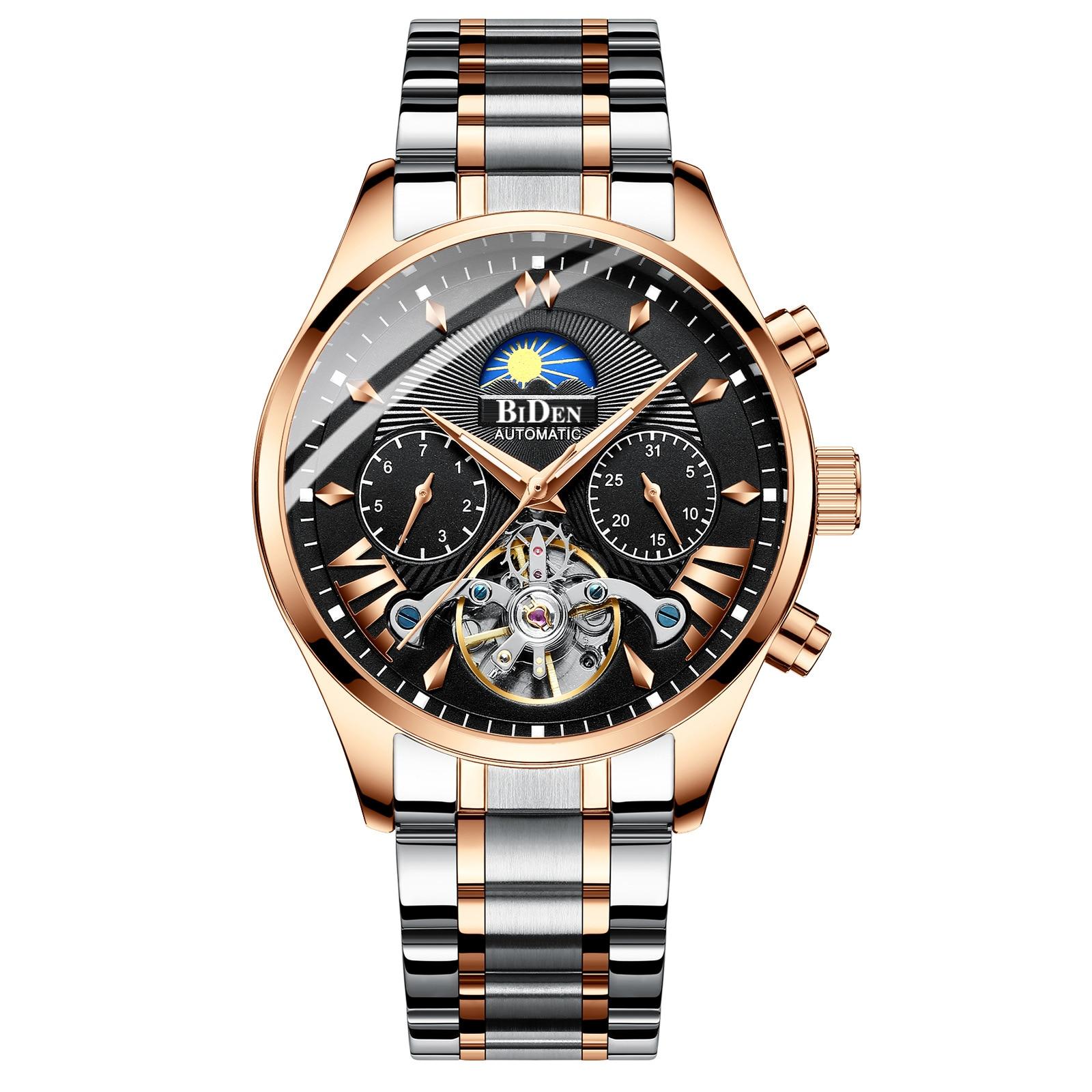 2019 nouveau BIDEN marque hommes montres en acier inoxydable entièrement automatique mécanique multifonction Tourbillon homme montres - 4