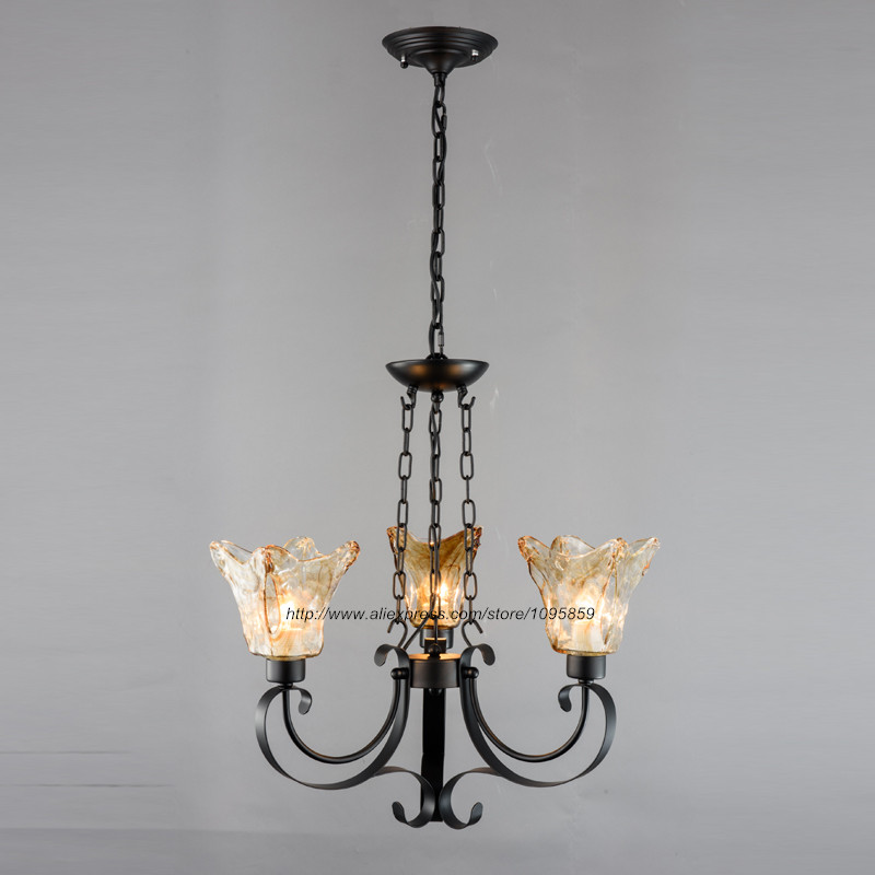 Vintage Retro 3 Arm Black Metal Chandelier Light Lamp Brown Glass Shade Ceiling Fixture Lighting 9lights e27 diy ceiling spider pendant lamp shade light antique classic adjustable retro chandelier dining home lighting fixture