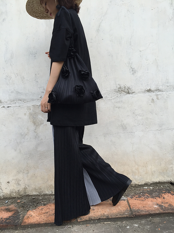 Gratuite D'origine Miyake Noir Jambe Plissée Livraison Pantalon Large PYaqBa