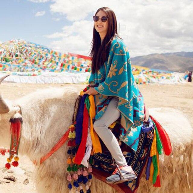US $18.89 10% OFF Frauen Winter Kaschmir Pashmina 180*130 cm Mode Dicke Warme Decke Poncho Floral Frau Schals Elegante Schals Blau in Frauen Winter