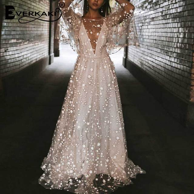 Everkaki Star Mesh Maxi Dress Women Wedding Lining Backless Deep V Neck Long Sleeve Elegant Bohemian Dresses Female 2019 Summer