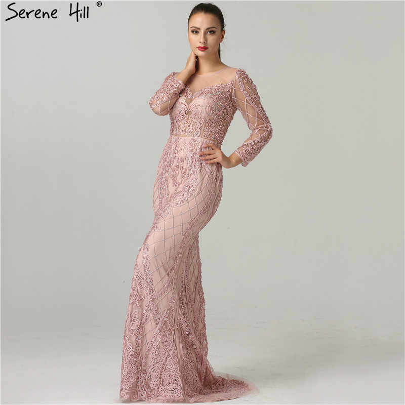... Real Photo Pink Mermaid Evening Gowns 2019 Long Sleeves Pearls Crystal  Fashion Sexy Elegant Formal Evening ... b6d4f2da7591