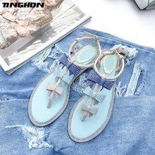 TINGHON  Fashion Fairy Shinny Crystal Summer Sexy Flat Women sandals Rhinestone gladiator Bow sandalias