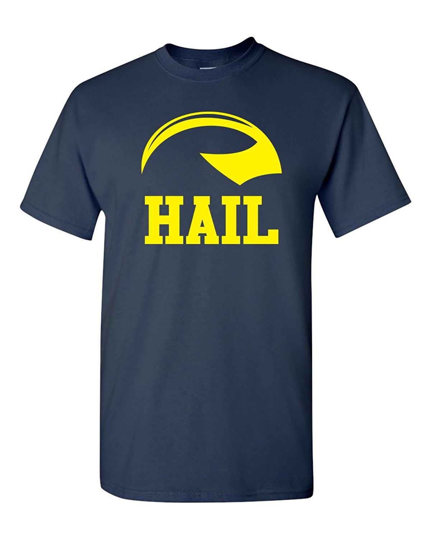 Short Sleeve Round neck Top Tee Hail Michigan Footballer Helmet Mens T-Shirt - 5XL Navy (570) T shirt