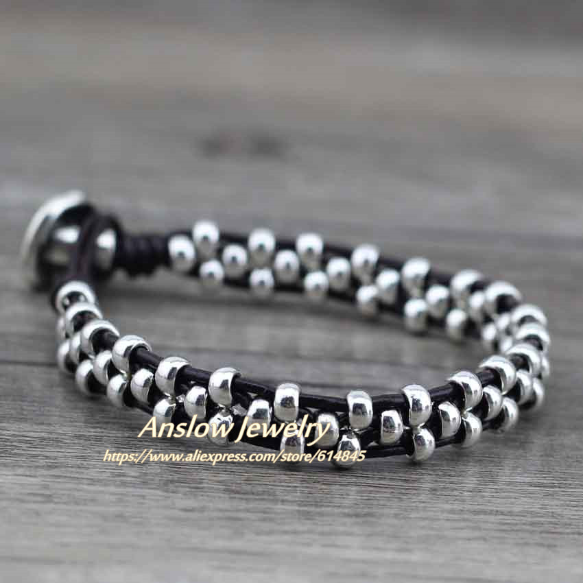 Anslow New Arrival Items Healthy Zinc Alloy Beads Women Men Girls Leather Bracelet Bijoux Charm Jewelry Accessories LOW0383LB 7