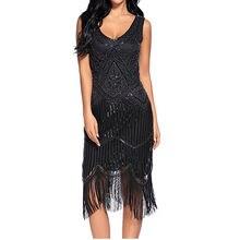 a2eb21bc0 XXL 1920 s de lentejuelas Vintage vestido de gran Gatsby mujeres Sexy borla aleta  vestido noche fiesta de Cosplay de lujo traje