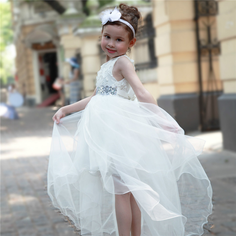 2018 White Formal Girl Dress Long Back Kids Wedding -3966