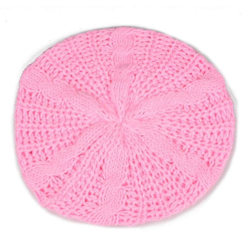 Beret tresse Crochet Chapeau Bonnet des Femmes Style Mode Tricotes Rose