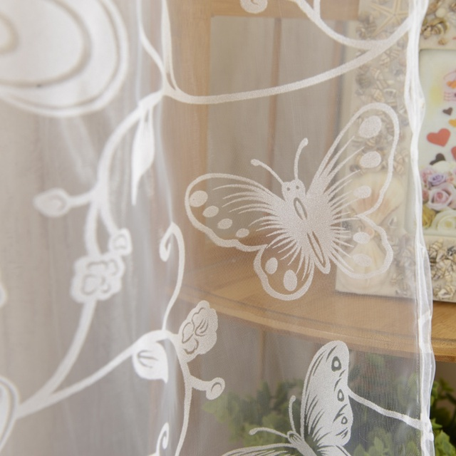 Window Curtain Purple Butterfly Burnout Tulle Voile Fabric ...