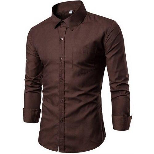 2018 Men Fashion Casual Long Sleeved Printed shirt Slim Fit Male Social Business Dress Shirt Brand Men Clothing G005 2