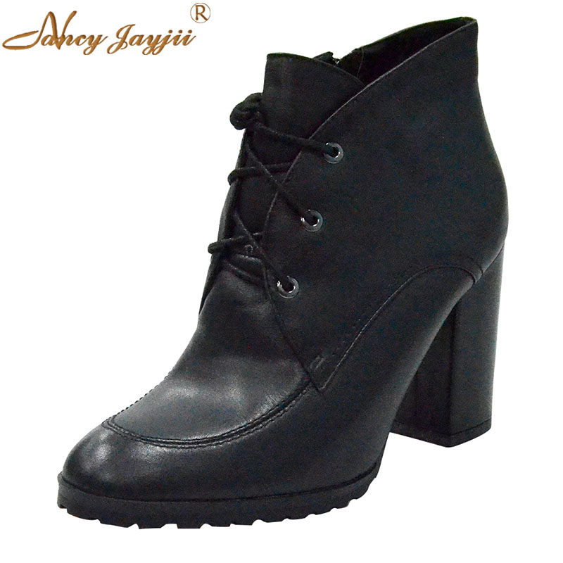 Black Genuine Leather Boots Round Toe Ankle Fox Fur Boots Women Winter&Autumn Causal Dress High Square Heel 9 cm Shoes Size