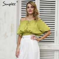 Simplee Casual off shoulder solid crop tops lace up short sleeve backless blouse shirt femme streetwear Elastic 2019 summer