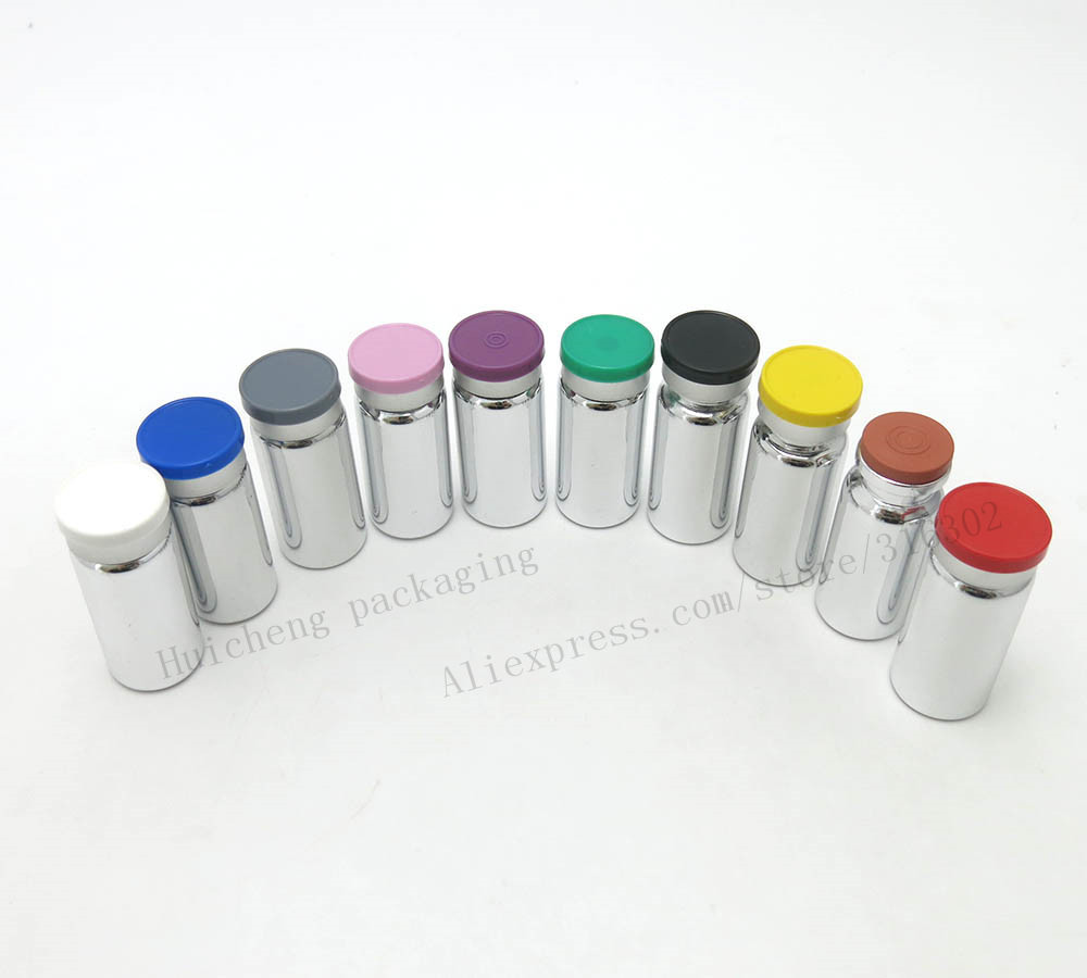 New Arrival!! Lot of 100 small 10 ml UV Silver Glass Bottles Jars Vials with Rubber Stopper Plastic-Aluminum Lids! image