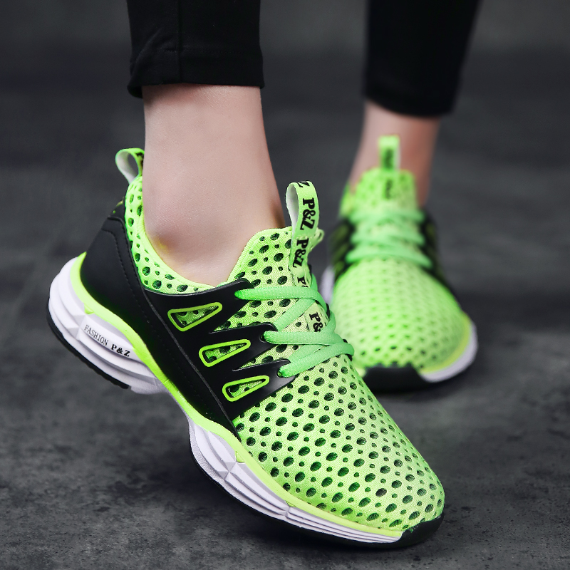 ФОТО Trail Running Shoes for Men and Women 2017 Breathable Mesh Sports Shoes Outdoor Anti-skid Athletic Jogging Walking Sneakers