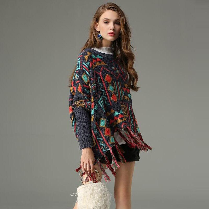 Hem Jersey Impresión Cuello 2018 Tassel Poncho Invierno Mujer Redondo Otoño Borla Geométrica Del Sexy Suéter Suelta Multiple Casual zazwFvqOx