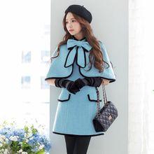 dabuwawa 2016 high quality autumn and winter woollen jacket short stand collar korean women cloak wool coat wholesale