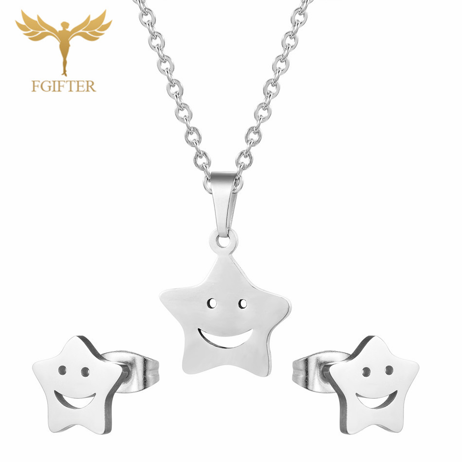 FGifter Silver Smile Star Necklace & Earrings Jewelry Sets for Girls Stainless Steel Party Jewelry for Girls Gifts