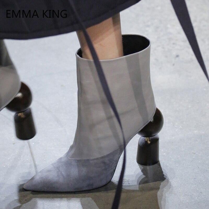 Extraño Del Blanco Picture Botas Negro Pie Zapatos Para Mujer Dedo Otoño As Picture Cortas Alto Tacón Moda Clásico De as Tobillo Puntiagudo Hqw8rH6