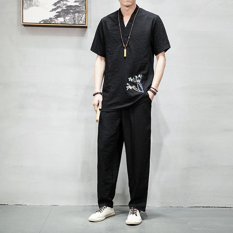 M-3XL Bird Embroidery V-Neck Vintage Tracksuit Men Casual Workout Streetwear T Shirt + Pants Summer Two Piece Set Man Clothing